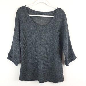 Eileen Fisher Dark Gray Metallic Sweater Size Med.